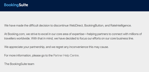 BookingSuite webpage shows discontinuation notice.